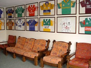 GAA shirts in the sitting room at Clare's Rock hostel